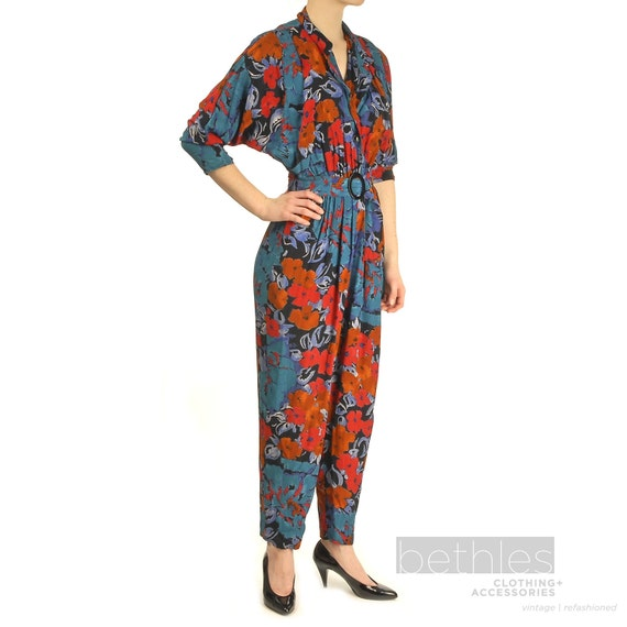 80s Jump Suit, Floral Jumpsuit, One Piece Jumpsuit Teal, Orange and Black Floral Print Onsie Vintage 1980s