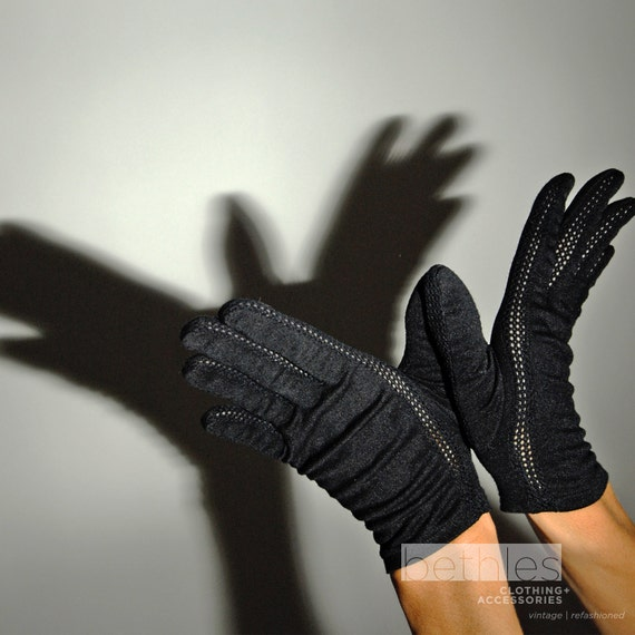 Black Gloves Short Vintage 50s