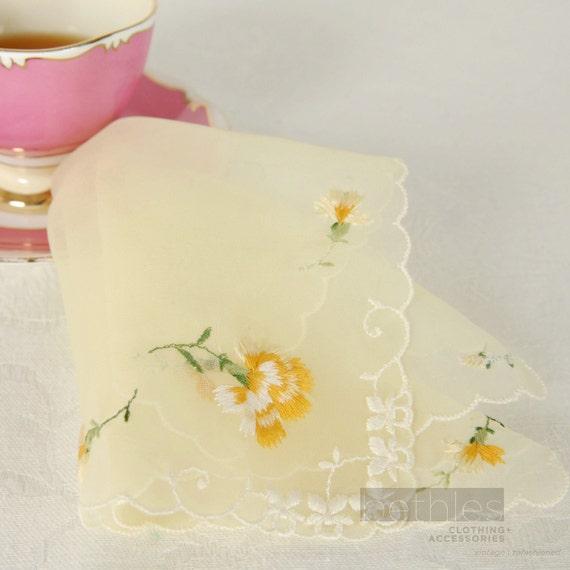 1960s Handkerchief Yellow Handkerchief Yellow Chiffon Hankie Floral Embroidered Hankie Vintage 60s Handkerchief Yellow Hanky