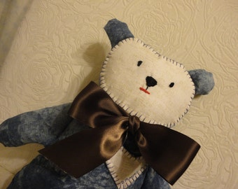 Blue jean Boy Huggable Bear with stitched face, brown bow and added stitched heart