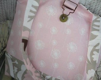 Sale on Girly pink with a grown up look  in brown and white design Diaper bag, purse, bag, tote