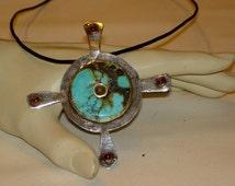 Boho Cross Pendant/Brooch,Sterling Silver Turquoise and Garnet Cross,Womens Bohemian Cross,Turquoise Jewelry,Vintage Gemstone Cross