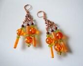 Orange juicy chunks on copper, chandelier earrings E167