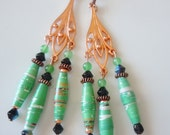 Mint on copper chandelier earrings  E235