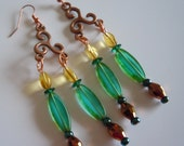 Lemon and lime on copper, chandelier earrings  E243