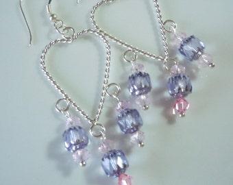 lavender crystal heart chandelier earrings E107