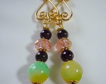 Lemon Lime on pink dangle earrings  E216