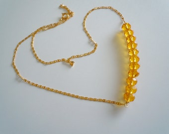 Gold crystal on gold, necklace 218