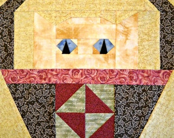 Broken Dishes Cat Quilt Block