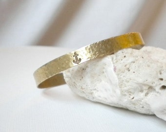 Anchor Brass Bracelet Bangle Cuff Gold Hammered Pebbled