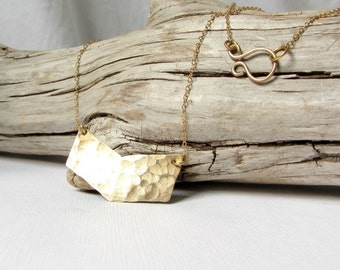 Small Chevron Necklace Gold Brass Hammered 14K Geometric