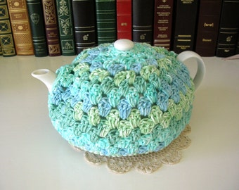 Blue Green Teapot Cozy - Crochet Tea Pot Cosy - Tea Gift - Handmade Tea Cozy