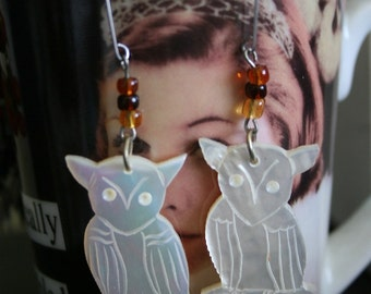 SALE Abalone Owl Earrings