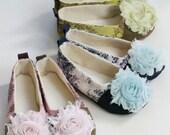 Easter Toddler Ballet Slipper, Girls Baby Shoes, Toile Baby Ballet Flats in Pink, Green, & Blue, Flower Girl, Wedding Shoe, Dance Baby Souls