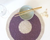 Purple placemat - eco friendly decor - summer home decor -  Mauve Lilac and natural colour - SALE 40% OFF