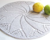 Silver grey placemat - Doily series - Cotton - SALE 40% OFF
