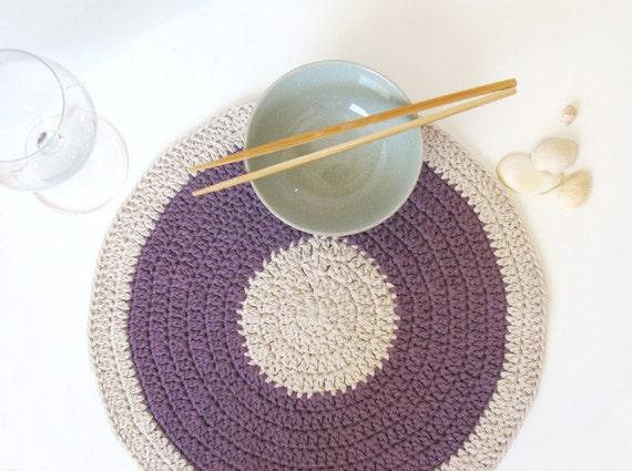 Purple placemat - eco friendly decor - summer home decor -  Mauve Lilac and natural colour - SALE 40% OFF