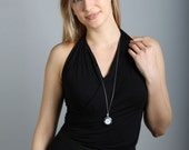 Watch necklace, long silver necklace, watch pendant, silver round clock, long drop, elegant necklace