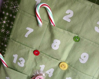 READY to SHIP Christmas Advent Calendar/ Christmas Countdown Calendar in Green Snowflake Holiday Flannel