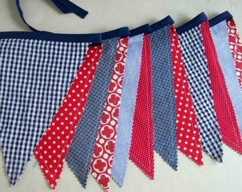 4th of July Banner/  Fourth of July Banner/ READY to SHIP/ Red, White and Blue Patriotic Bunting/Labor Day/ Photo Prop in Bright Colors