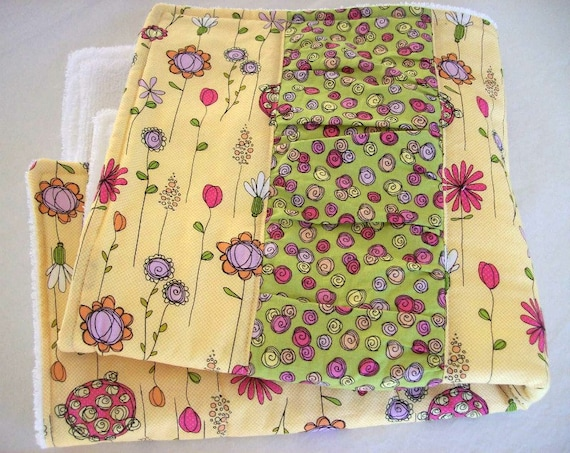 Dish Mat/ Dish Drying Mat/ Kitchen Towel in Yellow Wismical Flowers with Green Ruffled Inset/ Great Gift for Women