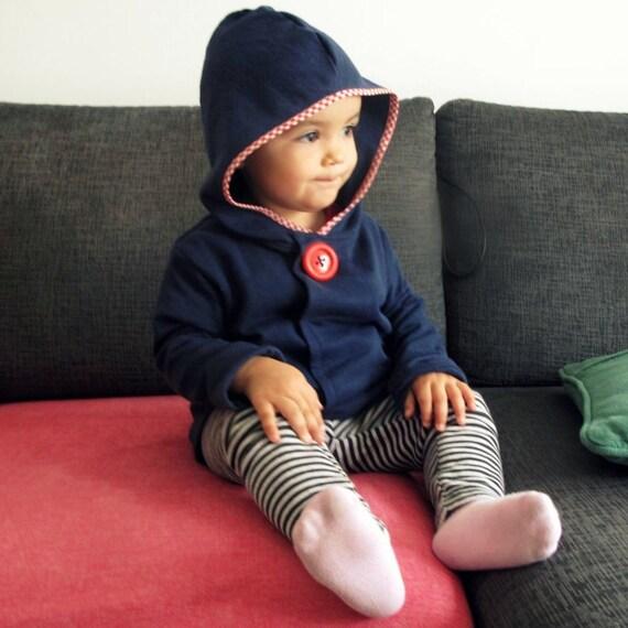 Kids' hoodie sweatshirt everyday wear. Indigo navy. Sizes 2T to 6y. Cold weather wear.