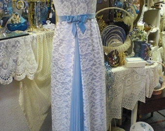 Blue and White Lace 1960 Gown