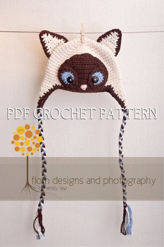 Crochet Pattern for Siamese Cat Hat Earflap style with