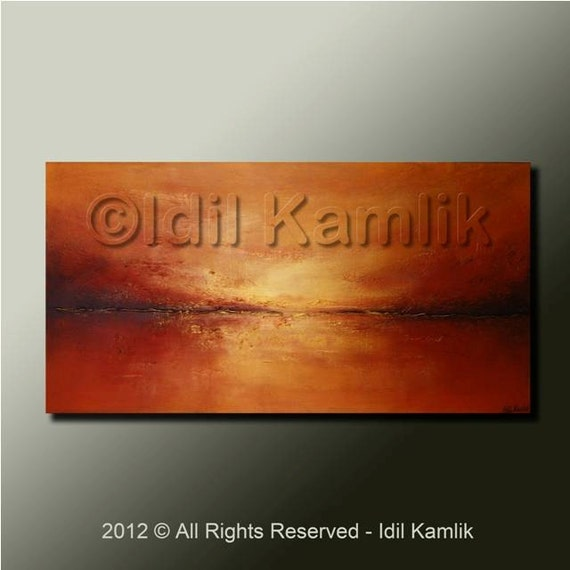 Modern Abstract Original Landscape PAINTING Contemporary Red and Gold Textured Fine Art by Idil Kamlik