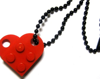 """Single Heart Necklace - Made with LEGO® Bricks - On 24"""" Black Dog Tag Style Ball Chain - With Gift Pouch"""