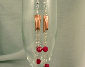 Dangly Copper and red crystal earrings - silver plated earrings with copper tubes and ruby red crystal beads