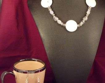 Howlite and Glass Necklace and Earring Set - Matching set of pink crystal handmade jewelry