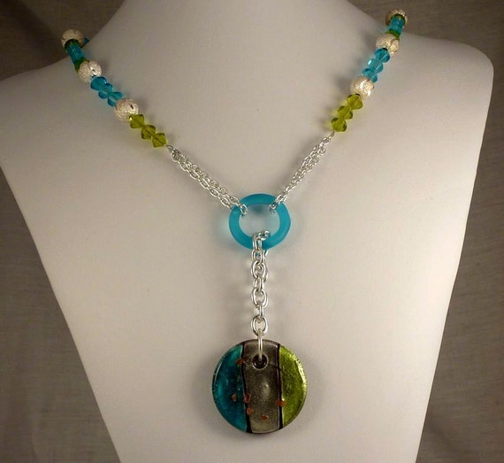 blue and green glass beaded necklace silver necklace with