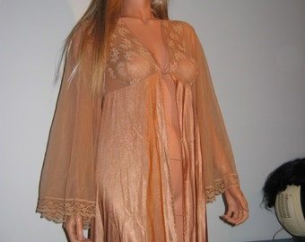 Sexy Peignoir. Angel Wing Chiffon Sleeves.  1970's Vintage Jenelle of California, Nude colored. Size small.