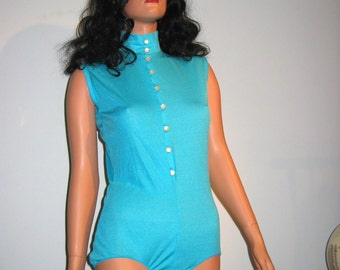 1960's Sexy Vintage Teddy Blouse.  Bodysuit.   All Nylon.  Turquoise Blue,  Clothes Hose.  Pin up, Rockabilly, Lolita.