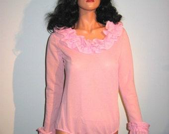 1960's Sexy Vintage Teddy Blouse.  Bodysuit.  Pink.  Pin up, Rockabilly, Lolita.
