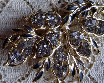 Vintage Brooch 1950s Mid Century Leaves and Gold Smokey Rhinestone Pin Mad Men Style