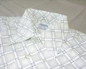 vintage 60's - 70's -Manhattan- Men's long sleeve sport shirt. 'New Old Stock'. Killer print on white. Medium 15 1/2
