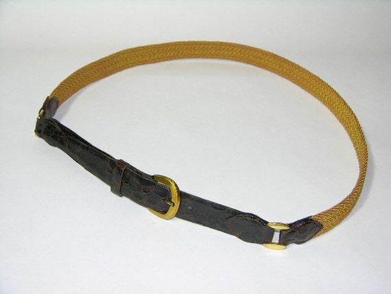 vintage 1960's Men's skinny Belt. Genuine Alligator with elastic braid. 35-39. Tate-Brown & Co.