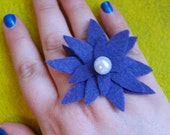 Purple Felt Flower Adjustable Ring with Pearl Bead Accent