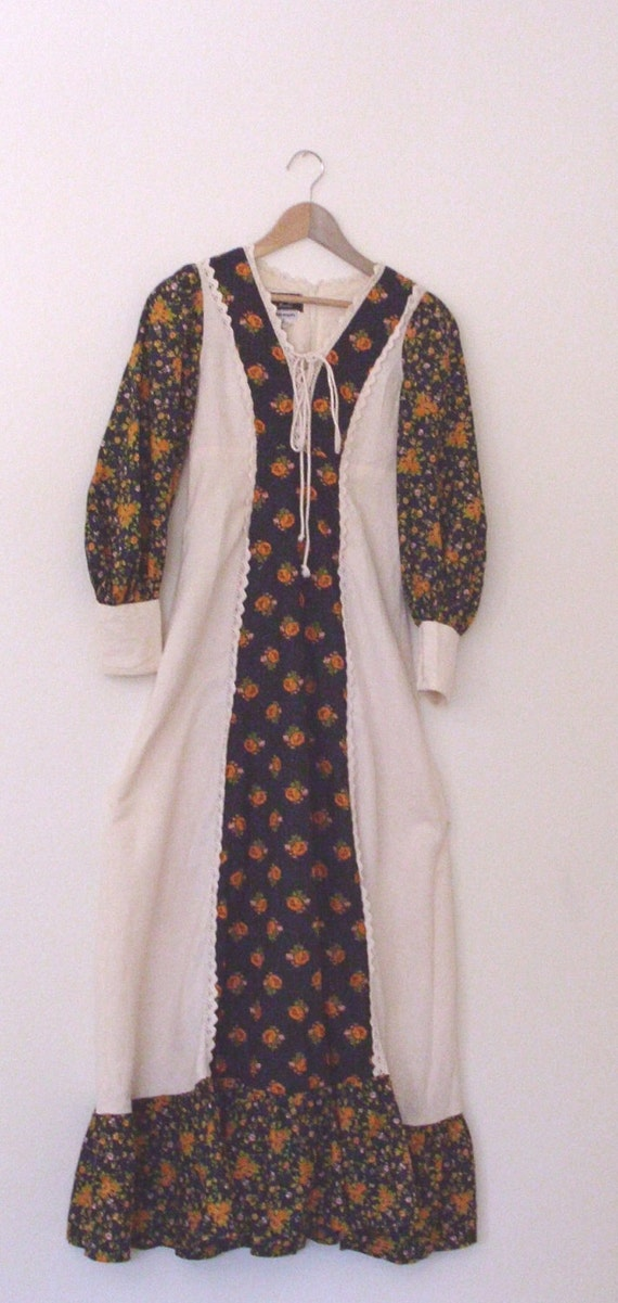 Rustic Folk  Autumn Colors Dress. Ethical Fashion  Boho Hippie