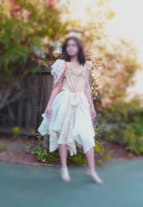 Custom Order OOAK Earth Colors/ Eco Fashion/ Fairy Tattered  Dress  Designed and HandMade by KheGreen