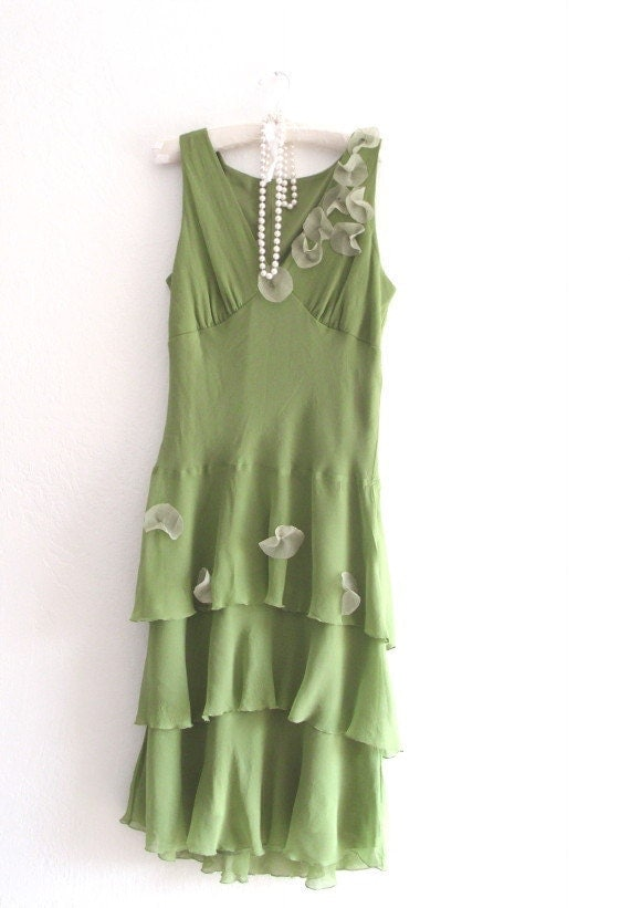 Romantic Spring Green Eco Friendly Tiered Chiffon  Dress/ Urban Chic
