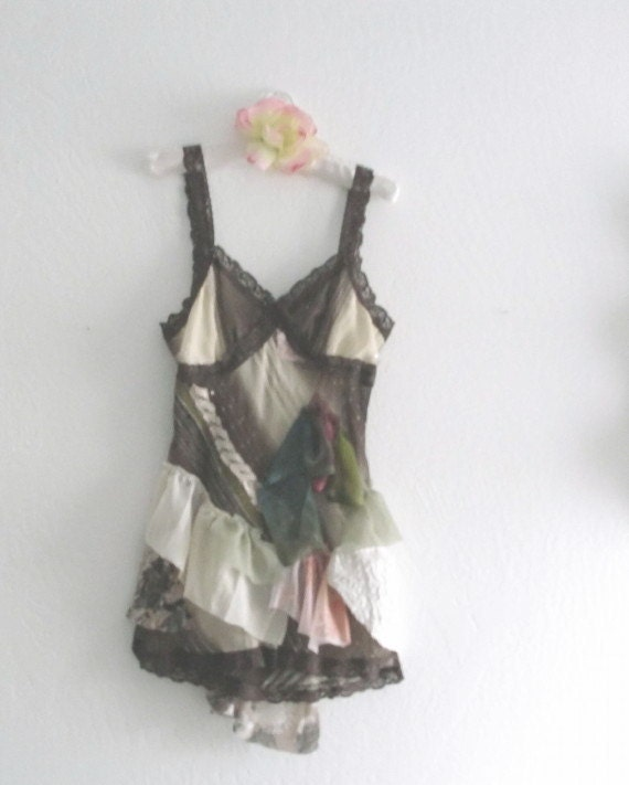 Fairy Tattered  Eco Fashion Pixie  SlipDress/ Mori Girls Boho Tunic
