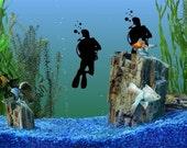 2 small Scuba Divers DECAL- fish tank - ocean water padi