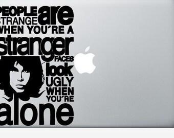"The Doors ""People are Strange"" laptop DECAL- macbook PC computer- Lyric Art - vinyl sticker"
