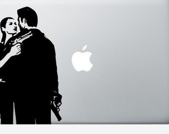 Gangster couple laptop DECAL- macbook iPad computer- vinyl sticker