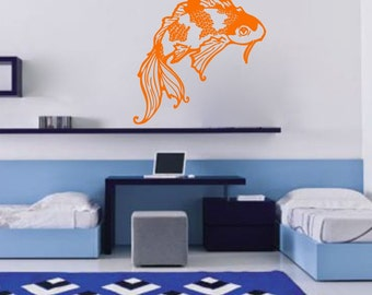 Koi, Nature, vinyl Wall DECAL- interior design, sticker art, room, home and business decor