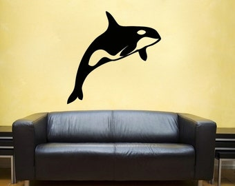 Killer whale Wall vinyl DECAL- Orca fish ocean sea Animal interior design, sticker art, room, home and business decor