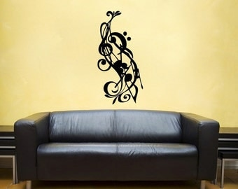 Music Notes vinyl Wall DECAL-  interior design, sticker art, room, home and business decor